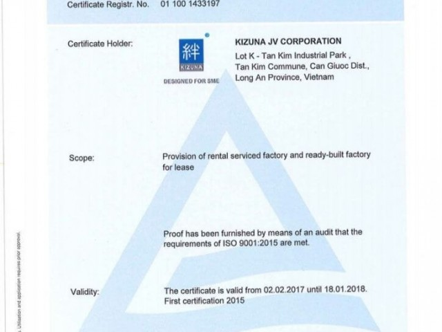 Kizuna đạt chứng nhận ISO 9001:2015 - Tiêu chuẩn quốc tế về quản lý chất lượng