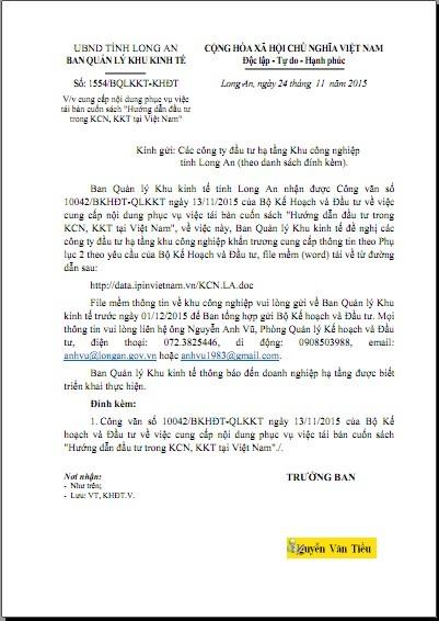 BQLKKT Long An tái bản sách Hướng dẫn đầu tư trong các KCN, KKT