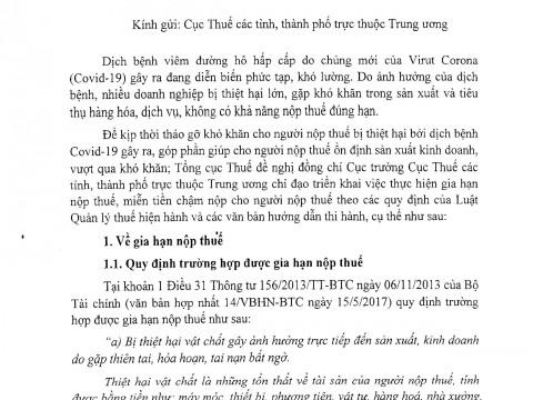 CV 897 GIA HẠN NỘP THUẾ, MIỄN TIỀN CHẬM NỘP DO ẢNH HƯỞNG BỞI DỊCH BỆNH COVID-19