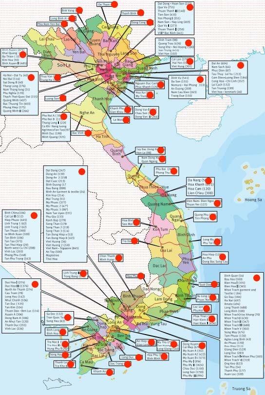 ベトナム工業団地マップ